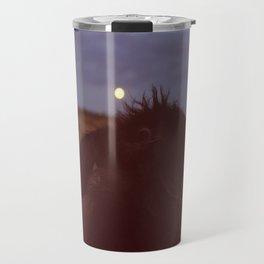 dog watching full moon Travel Mug