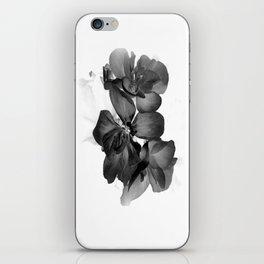 Black Geranium in White iPhone Skin