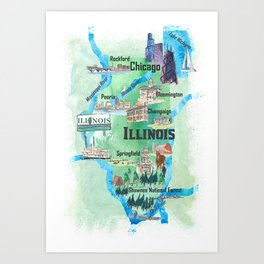 graphic relating to Chicago Tourist Map Printable named Chicago Map Artwork Prints Lifestyle6