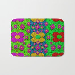 Big flower power to the people Bath Mat