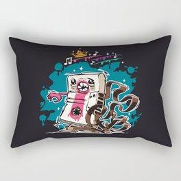 Cartoon Audio Cassette Tape on Dark Background Rectangular Pillow