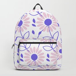 Pastel pink violet hand painted daisies floral pattern Backpack