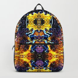 Mystic Yellow Blue Ornament Pattern Backpack