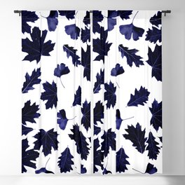 Indigo Blue Sun-Dyed Leaves Blackout Curtain