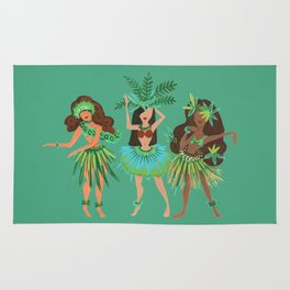 Luau Girls on Mint Rug