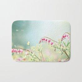Bleeding Heart Flower Photography, Pink Blue Green Aqua Pastel, Floral Nursery Nature Spring Bath Mat