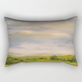 Scenic Autumn Late Afternoon in Vermont Nature Art Landscape Oil Painting Rectangular Pillow