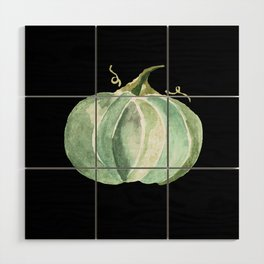 Blue Watercolor Pumpkin on Black Wood Wall Art