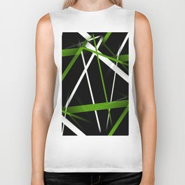 Seamless Grass Green and White Stripes on A Black Background Biker Tank