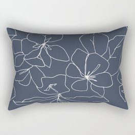Flowers in Bloom, Drawing in Blue Rectangular Pillow