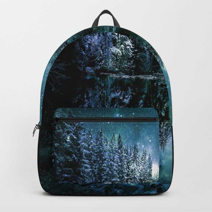 Winter Wonderland Forest Green Teal : A Cold Winter's Night Backpack