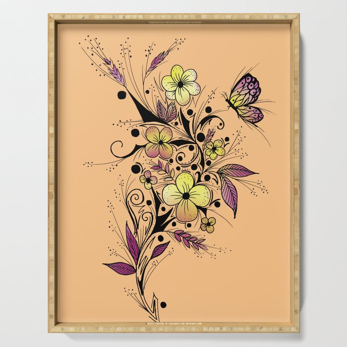 Flower Tattoo in Yellow and Purple Serving Tray