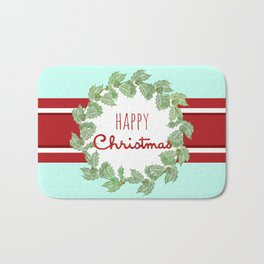 Happy Christmas striped holiday Bath Mat