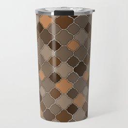 Quatrefoil Moroccan Pastel Brown and metal Travel Mug