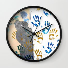 Handprints on the wall Wall Clock