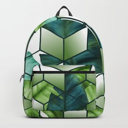 Tropical Cubic Effect Banana Leaves Design Backpack