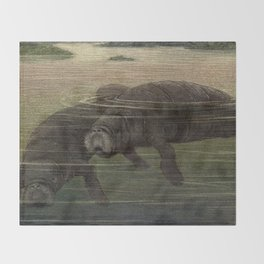Vintage Manatee Painting (1909) Throw Blanket