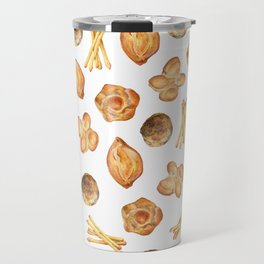 Watercolor Bread Illustration pattern | Italian breads | Baking pattern | Kitchen pattern Travel Mug