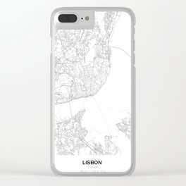 Lisbon, Portugal Minimalist Map Clear iPhone Case