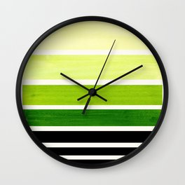 Sap Green Minimalist Mid Century Staggered Stripes Rothko Color Block Geometric Art Wall Clock