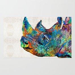 Rhino Rhinoceros Art - Looking Up - By Sharon Cummings Rug