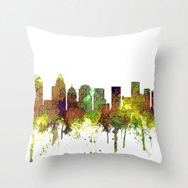 Charlotte NC Skyline SG Safari Buff Throw Pillow