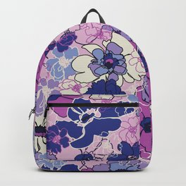 Red Violet and Navy Anemones Backpack