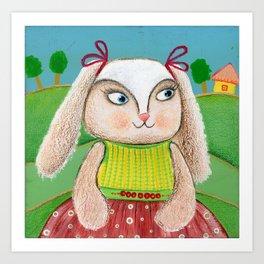 Ballerina Bunny Girl  Art Print
