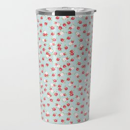 English Rose Pattern on Blue Travel Mug