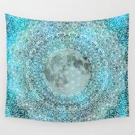 Lunar Magic Flower Of Life Blue & White Moon Mandala Wall Tapestry