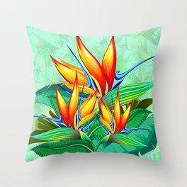 Bird of Paradise Flower Exotic Nature Throw Pillow