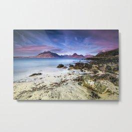 Beach Scene - Mountains, Water, Waves, Rocks - Isle of Skye, UK Metal Print