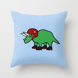 Roller Derby Triceratops Throw Pillow