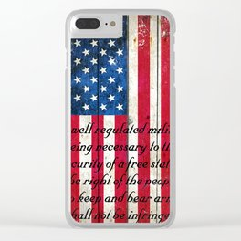 2nd Amendment on American Flag - Vertical Print Clear iPhone Case