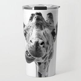 Giraffe Portrait Black and White Travel Mug
