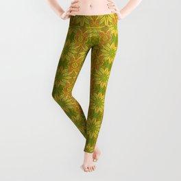 Sun Flower, bohemian floral, yellow, green & orange Leggings