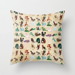 Mythical Creatures Pattern Throw Pillow