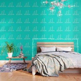 Aloha Tropical Turquoise Wallpaper
