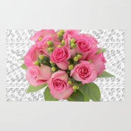 Pink Rose Silver Mandala Rug