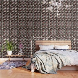 Vintage Floral With Skulls Wallpaper