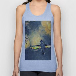 Golden Blue Hummingbird by CheyAnne Sexton Unisex Tank Top