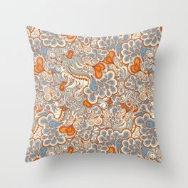 orange and blue pattern Throw Pillow