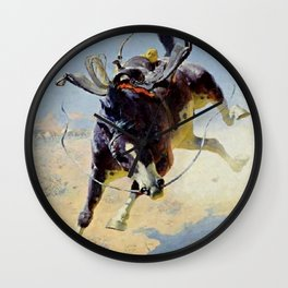 "William Leigh Western Art ""A Fighting Cyclone"" Wall Clock"