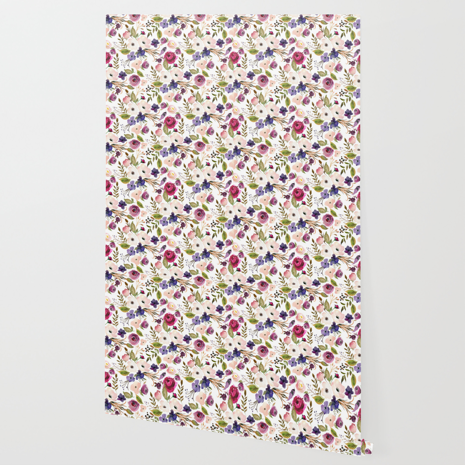 Violet Pink Yellow Green Watercolor Modern Floral Pattern