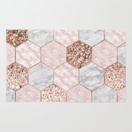 Rose gold dreaming - marble hexagons Rug