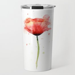 Red Poppy Watercolor Flower Floral Travel Mug