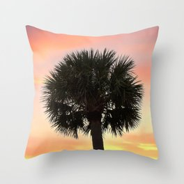 Palm and Sunset Throw Pillow