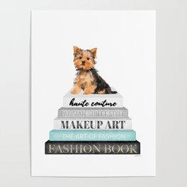 Yorkie, Books, Fashion books, Gray, Teal, Fashion, Fashion art, fashion poster, fashion wall art, Poster