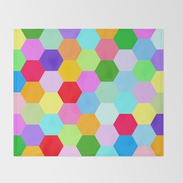 Multicoloured Hexagon Pattern Throw Blanket