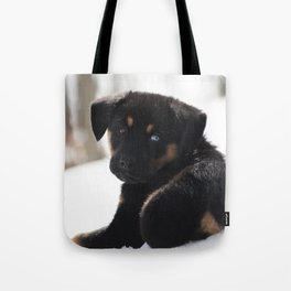 Puppy In The Snow Tote Bag
